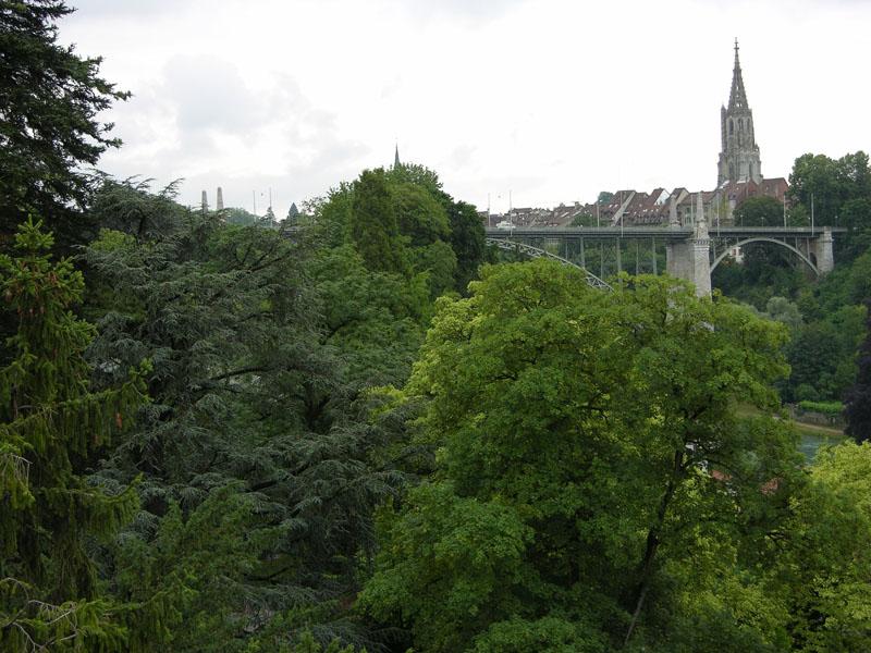 Blick über das Arboretum mit Kornhausbrücke und Münster