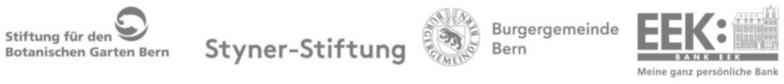 Logo der Stiftung für den Botanischen Garten Bern, der Styner-Stiftung, der Burgergemeinde Bern und der Bank EEK